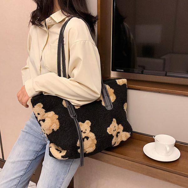 Women Cute Bear Plush Shoulder Bag Large