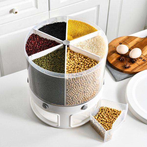Food Storage Rotatable Multi-functional Dividing Grains Organizer