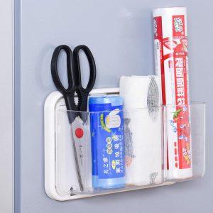 Refrigerator Shelf Magnet Free Perforated Cling Film Storage Rack.