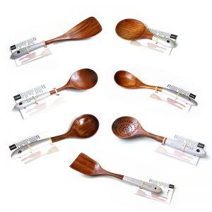 Wooden Kitchen Utensils Set Appliances Special Non-stick Set Pure Natural Teak Solid Wood Long Handle Shovel Tools